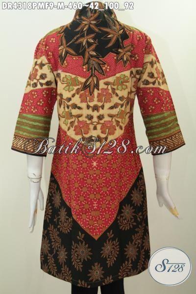 Dress Batik Kerah Langsung Motif Klasik, Baju Batik Premium Wanita Muda Ukuran M Proses Kombinasi Tulis Kwalitas Istimewa, Penampilan Lebih Berkelas