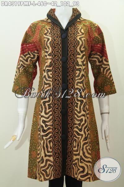 Batik Dress Istimewa Kwalitas Premium Harga 400 Ribuan, Busana Batik Halus Daleman Pak Furing Tricot Buatan Solo Model Kerah Langsung Istimewa Untuk Seragam Kerja