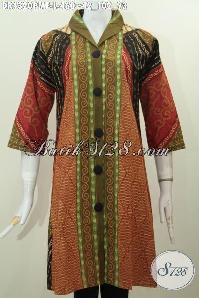 Sedia Busana Batik Dress Khas jawa Tengah, Baju Batik Elegan Motif Klasik Istimewa Desain Mewah Daleman Pake Furing Pas Untuk Kondangan [DR4320PMF-L]