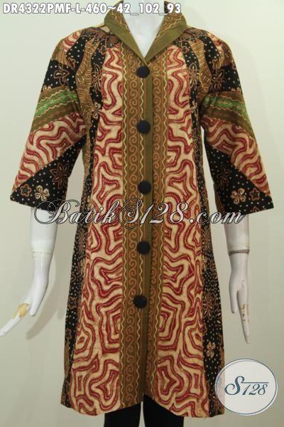 Baju Dress Batik Klasik Kombinasi Tulis, Pakaian Kerja Mewah Daleman Furing Tricot Kwalitas Halus Dan Nyaman Di Pakai, Size L