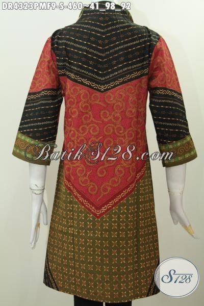 Baju Dress Batik Motif Klasik Kombinasi Tulis Buatan Pengerajin Solo, Produk Pakaian Batik Elegan Full Furing Model Kerah Langsung Modis Untuk Kerja Dan Rapat [DR4323PMF-S]