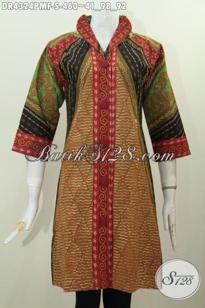 Jual Online Batik Dress Ukuran Kecil Spesial Untuk Wanita Usia Muda, Produk Baju Batik Klasik Furing Tricot Halus Proses Kombinasi Tulis Untuk Penampilan Lebih Anggun, Size S