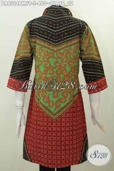 Pakaian Kerja Wanita Muda Desain Mewah Berbahan Batik Kwalitas Premium Kombinasi Tulis Motif Klasik Daleman Full Furing, Baju Batik Solo Yang Membuat Penampilan Lebih Berkelas [DR4324PMF-S]