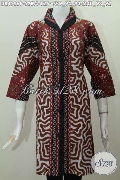 Dress Batik Klasik Desain Elegan Motif Sinaran Matahari, Busana Batik Berkelas Proses Printing Kwalitas Halus Harga Terjangkau, Size S – M
