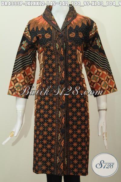 Baju Dress Batik Klasik Elegan Dan Mewah, Pakaian Batik Halus Kwalitas Istimewa Desain Mewah Proses Printing Hanya 135K, Size L – XL – XXL
