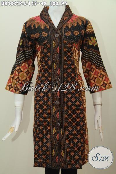 Baju Batik Wanita Model Dress Berbahan Halus Kwalitas
