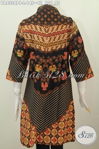 Dress Batik Klasik Mewah Dan Halus, Sedia Pakaian Batik Modis Istimewa Buatan Solo Trend Mode Terkini, Baju Batik Elegan Cocok Buat Kerja Dan Acara Formal, Size L