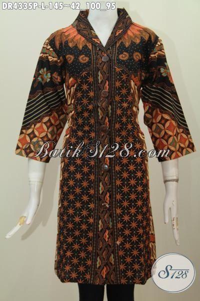 Batik Dress Solo Terbaru, Hadir Dengan Desain Mewah Motif Sinaran Matahari Proses Printing Pas Banget Untuk Kondangan, Size L
