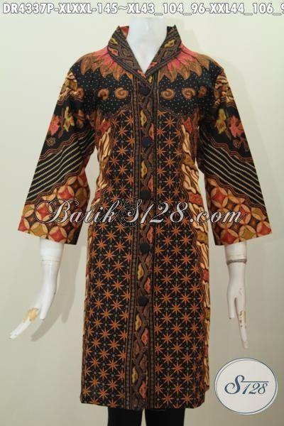 Dress Batik Model Terbaru Buat Wanita Karir Usia Dewasa, Baju Batik Halus Proses Printing Motif Sinaran Matahari Kwalitas Halus Tampil Makin Berkelas [DR4337P-XXL]