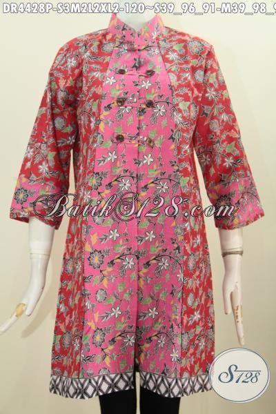 Baju Baju Batik Online Paling Up To Date, Jual Dress Batik Dual Motif Kwalitas Bagus Proses Printing Warna Keren, Pakaian batik Modern Untuk Formal Dan Santai, Size S – M – L – XL