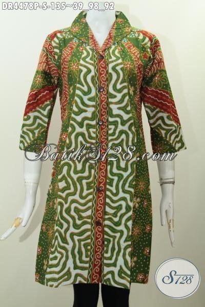 Baju Dress Elegan Model Formal Motif Klasik Proses Printing, Busana Batik Istimewa Kwlaitas Bagus Harga Terjangkau, Size S