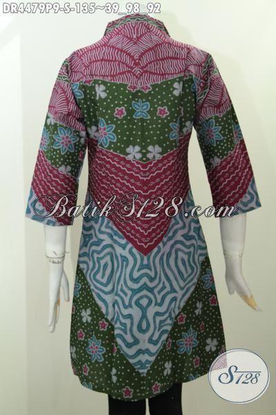 Jual Produk Baju Batik Istimewa Desain Mewah Motif Klasik Proses Printing, Baju Batik Jawa Tengah Untuk Perempuan Muda Tampil Modis Dan Elegan [DR4479P-S]