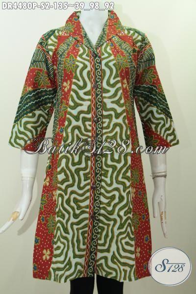 Dress Batik Model Terbaru Dengan Desain Elegan Dan Mewah, Pakaian Batik Modis Berkelas Motif Klasik Proses Printing Untuk Tampil Anggun Menawan, Size S
