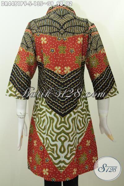 Baju Dress Batik Wanita Masa Kini Model Paling Di Cari, Busana Kerja Istimewa Berbahan Halus Motif Klasik Proses Print Buat Ke Kantor Dan Rapat, Size S