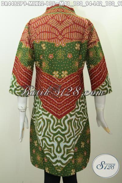 Jual Aneka Produk Busana Batik Wanita Karir, Baju Batik Dress Model Terbaru Motif Klasik Proses Printing Kwalitas Istimewa Untuk Penampilan Lebih Istimewa [DR4482P-M]