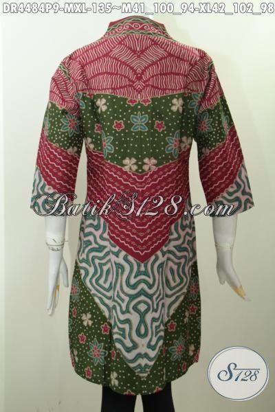Pakaian Dress Batik Untuk Wanita Muda Dan Dewasa, Busana Batik Elegan Untuk Seragam Kerja Perempuan Karir, Berbahan Halus Motif Klasik Proses Printing Harga 135K, Size M – XL