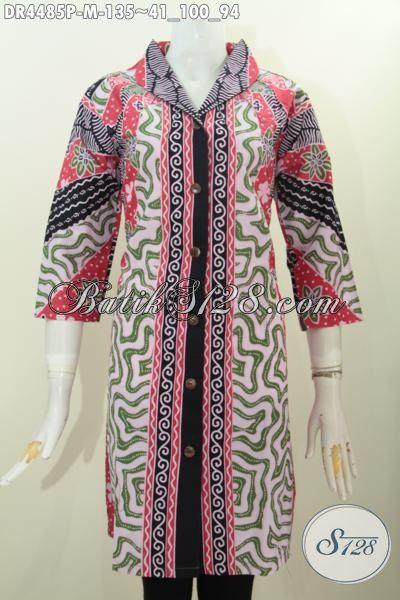 Dress Batik Model Langsung Motif Klasik, Baju Batik Wanita Muda Ukuran M Kwlaitas Bagus Proses Print Tampil Berkelas