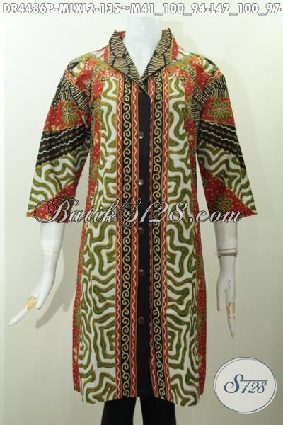 Baju Dress Istimewa Model Langsung Berbahan Adem Motif Klasik Proses Printing, Pakaian Batik Untuk Kerja Para Pegawai Wanita Masa Kini, Size M – L – XL