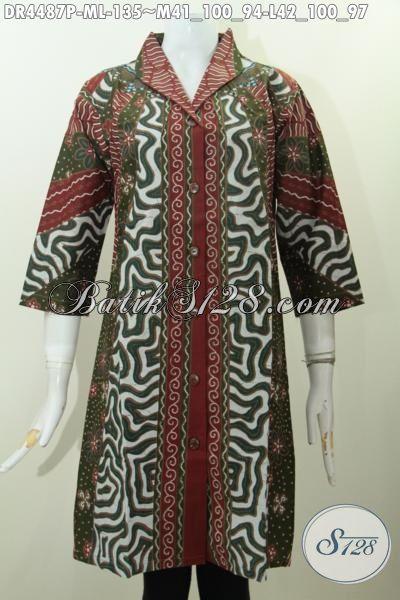 Batik Dress Buatan Solo Trend Motif Terkini, Produk Baju Dress Istimewa Desain Mewah Bahan Adem Kwalitas Premium Harga Minimum Proses Printing [DR4487P-L]