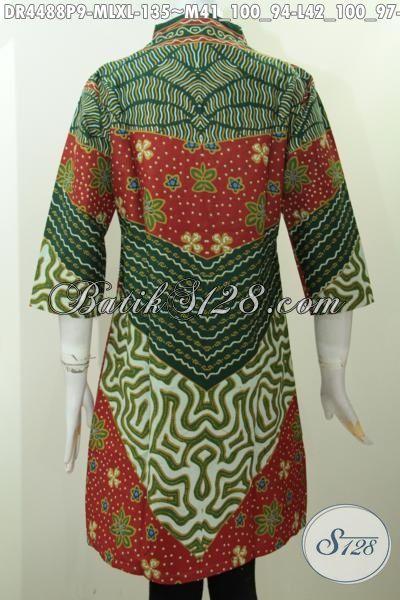 Jual Online Dress Batik Langsung Motif Bagus Harga Murah, Pakaian batik Formal Elegan Proses Printing Bahan Adem Yang Nyaman Di Pakai, Size M – L – XL