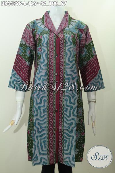 Pakaian Batik Dress Modern Desain Mewah Motif Klasik Proses Printing, Baju Batik Berkelas Bahan Halus Cocok Untuk Seragam Kerja Dan Busana Kondangan [DR4489P-L]