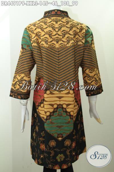 Batik Dress Langsung Motif Klasik Ukuran 3L, Busana Batik Halus Proses Printing Edisi Spesial Wanita Berbadan Gemuk, Size XXL