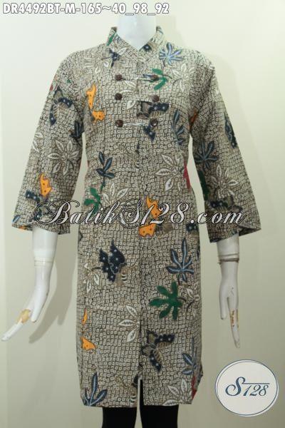 Jual Baju Batik Dress Model Kerah Shanghai, Pakaian Batik Modis Kombinasi Tulis Buatan Solo Untuk Penampilan Lebih Gaya, Size M