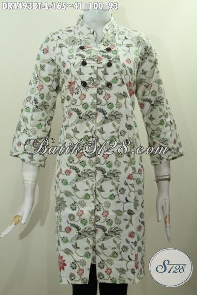 Busana Dress Batik Kerah Shanghai Motif Bunga Kwalitas Bagus Harga Terjangkau, Busana Batik Jawa Etnik Trend Masa Kini Untuk Penampilan Lebih Berkelas, Size L