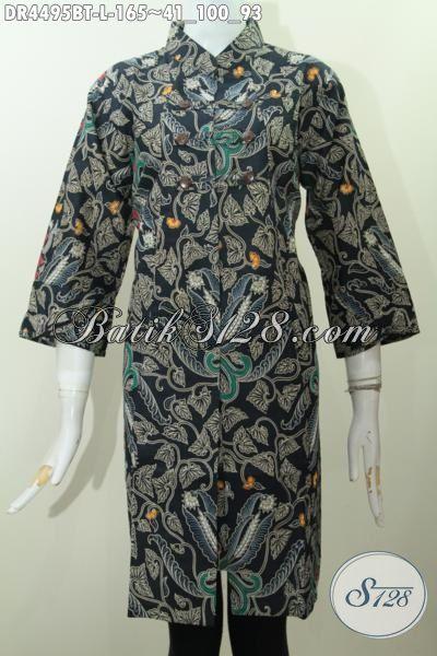 Jual Online Dress Batik Keren Berbahan Adem Kwalitas Premium Trend Masa Kini, Baju Batik Solo Proses Kombinasi Tulis Model Kerah Shanghai Elegan, Size L