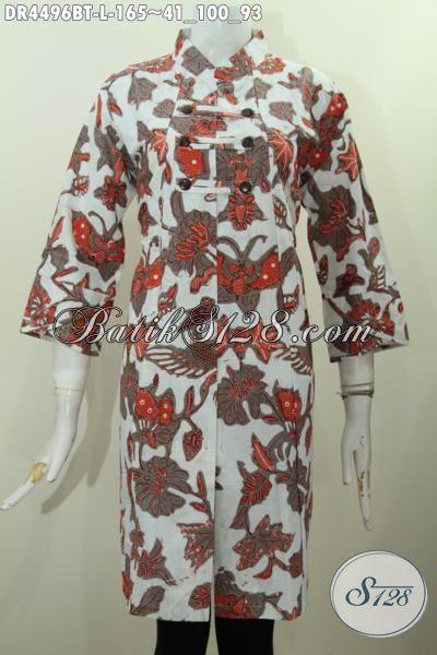 Produk Terbaru Busana Dress Wanita Muda Size L, Pakaian Batik Modern Motif Keren Kombinasi Tulis Buat Penampilan Lebih Stylish