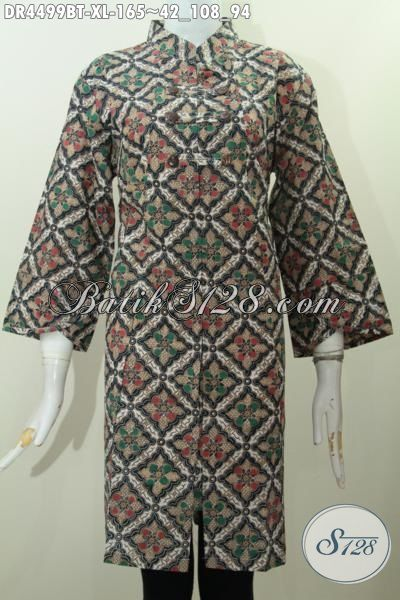 Agen Produk Pakaian Batik Online, Sedia Busana Dress Batik Istimewa Trend Masa Kini Kwalitas Bagus Harga Terjangkau, Baju Batik Kombinasi Tulis Model Kerah Shanghai Untuk Wanita Dewasa Size XL
