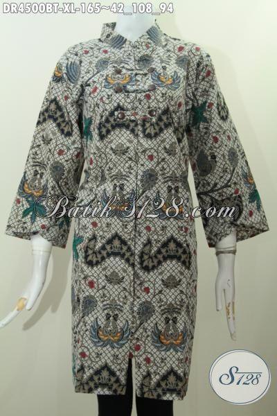 Jual Online Dress Batik Kwalitas Bagus Harga Terjangkau, Dress Batik Seragam Kerja Motif Unik Proses Kombinasi Tulis Buat Penampilan Lebih Mempesona, Size XL