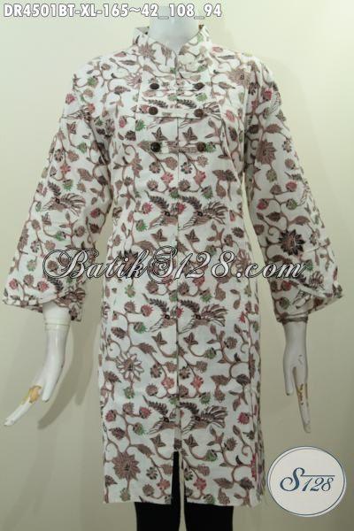 Produk Pakaian Dress Batik Halus Trend Masa Kini Model Kerah Shanghai, Pakaian Dress Batik Kwalitas Bagus Harga Terjangkau Proses Kombinasi Tulis, Size XL
