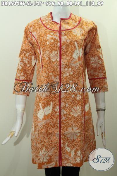 Baju Dress Batik Plisir Kain Polos Motif Unik Kombinasi Tulis, Busana Batik Buatan Solo Modis Untuk Santai Dan Hangout, Size S – L