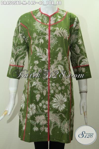 Baju Dress Warna Hijau Model Plisir Kain Polos, Busana Batik Modern Berbahan Halus Kwalitas Istimewa Proses Kombinasi Tulis Tampil Trendy Dan Berkelas, Size M