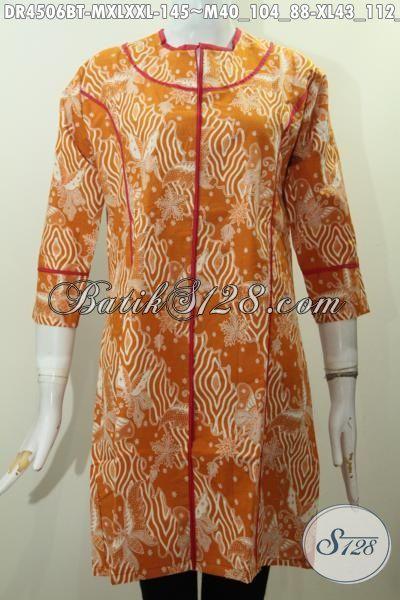 Pakaian Batik Dress Istimewa Berbahan Adem Motif Unik Proses Kombinasi Tulis, Baju Batik Plisir Kain Polos Cocok Buat Hangout Dan Santai, Size M – XL – XXL