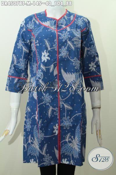 Baju Dress Warna Biru Model Plisir Kain Polos Nan Istimewa, Busana Batik Jawa Proses Kombinasi Tulis Motif Terkini Untuk Pesta Dan Jalan-Jalan [DR4507BT-M]