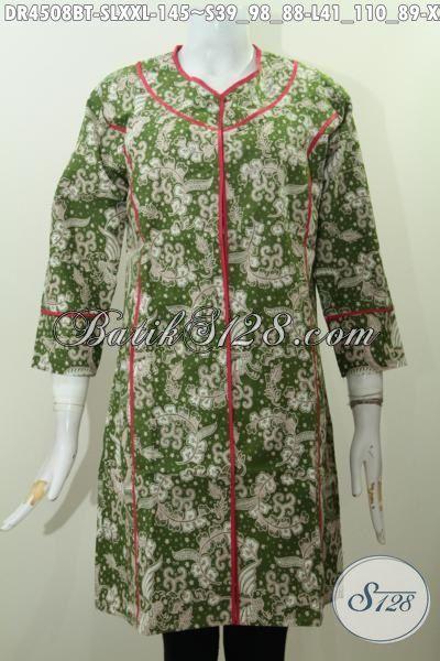 Baju Batik Dress Plisir Kain Polos Dasar Hijau, Busana Batik Istimewa Desain Trendy Buat Wanita Muda Dan Dewasa Tampil Terlihat Beda, Proses Kombinasi Tulis [DR4508BT-S , L]