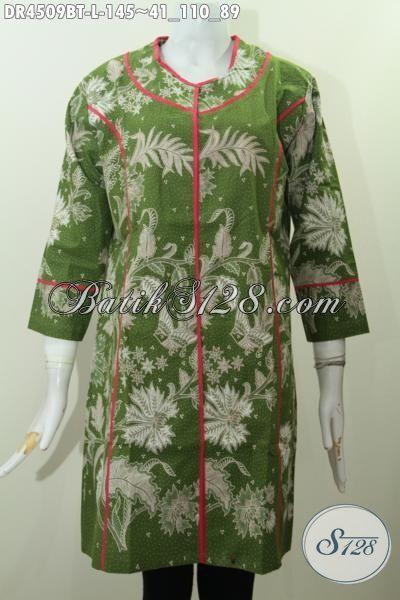 Jual Produk Baju Dress Plisir Kain Polos Istimewa Trend Masa Kini, Pakaian Batik Modis Bahan Halus Motif Unik Proses Kombinasi Tulis Tampil Lebih Mempesona, Size L