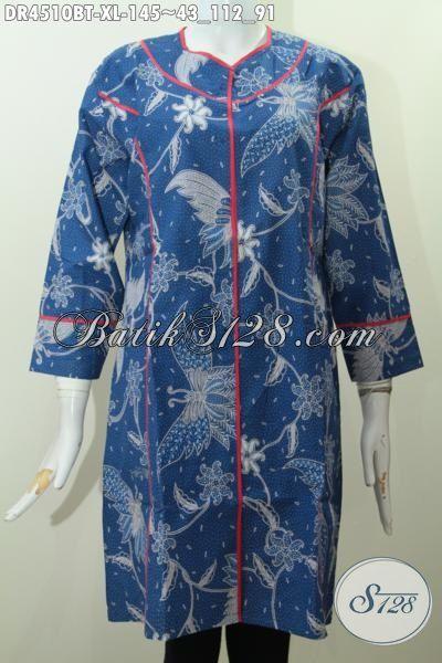 Jual Pakian Batik Dress Plisir Kain Polos Motif Bunga Dan Kupu Proses Kombinasi Tulis, Baju Dress Warna Biru Bikin Wanita Terlihat Anggun Mempesona, Size XL