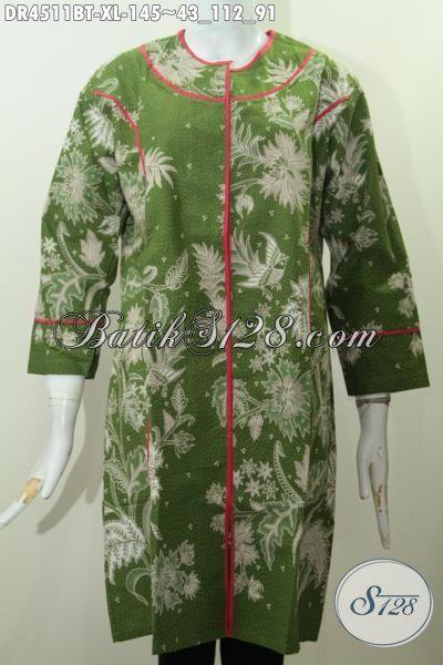 Dress Batik Plisir Kain Polos Ukuran XL, Berbahan Halus Serta Adem Nyaman Di Pakai Setiap Hari, Busana Batik Keren Warna Hijau Motif Unik Kombinasi Tulis Harga 145K [DR4511BT-XL]