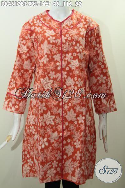 Toko Online Baju Batik Jawa Tengah Sedia Dress Batik Pilisr Kain Polos Istimewa Berbahan Adem Kwalitas Bagus Motif Kombinasi Tulis, Size XXL
