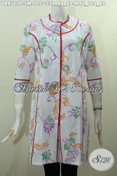 Baju Batik Dress Model Terbaru Dengan Desain Plisir Kain Polos Motif Keren Proses Print, Busana Batik Istimewa Masa Kini Yang Bikin Remaja Putri Tampil Cantik Dan Mempesona, Size S – M