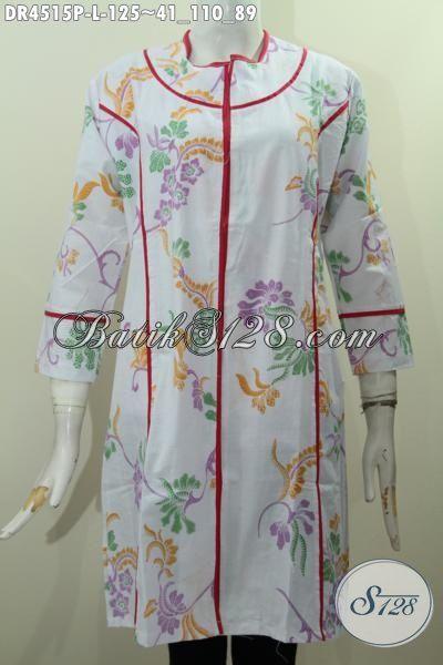 Produk Terbaru Dari Solo Dress Batik Plisir Kain Polos Motif Bunga Proses Printing, Baju Batik Keren Untuk Wanita Muda Dan Dewasa Tampil Lebih Cantik Dan Menarik [DR4515P-L]
