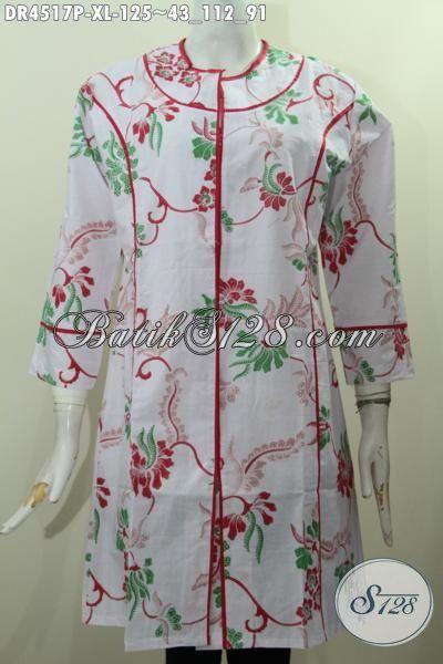 Baju Dress Batik Printing Motif Bunga Kwalitas Halus Model Plisir Kain Polos, Baju Batik Istimewa Buat Wanita Masa Kini Tampil Lebih Bergaya [DR4517P-XL]