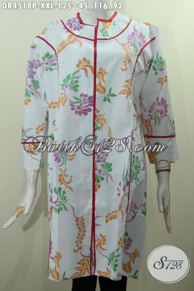 Busana Batik Kwalitas Bagus Ukuran 3L, Produk Dress Plisir Kain Polos Istimewa Motif Bunga Proses Printing Untuk Wanita Gemuk Bisa Tampil Modis Dan Kece [DR4518P-XXL]