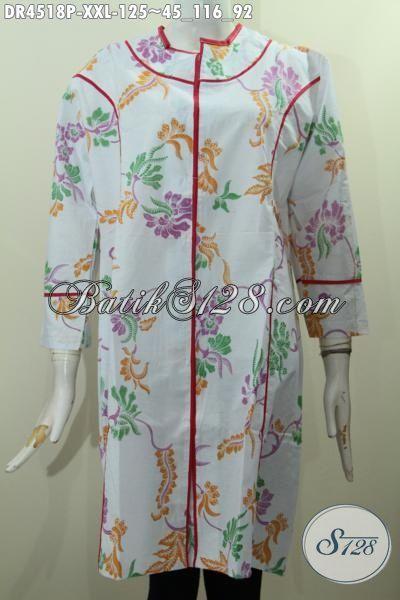 Baju Dress Batik Motif Bunga Proses Printing, Pakaian Batik Wanita Gemuk Ukuran Jumbo, Baju Dress Solo Model Plisir Kain Polos Untuk Penampilan Lebih Kece, Size XXL