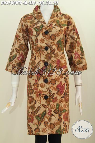 Baju Dress Batik Kerah Langsung Motif Bagus Kombinasi Tulis, Busana Batik Kwalitas Premium Daleman Full Furing Untuk Penampilan Lebih Berkelas, Size M