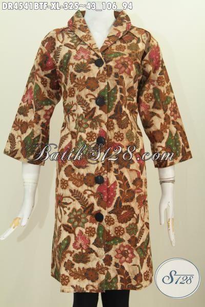 Baju Dress Batik Modis Motif Bunga Proses Kombinasi Tulis, Pakaian Batik Istimewa Model Kerah Langsung Daleman Full Furing tampil Lebih Percaya Diri, Size XL