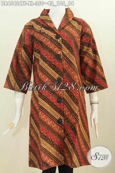 Pakaian Dress Batik Elegan Motif Parang Kombinasi Tulis, Baju Batik Berkelas Model Kerah Langsung Pake Furing Tricot, Size XL